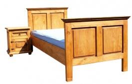 Masivní postel  90x200cm ACC 02 - K03 bílá patina