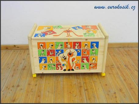 Dřevěný truhla na hračky Kočky