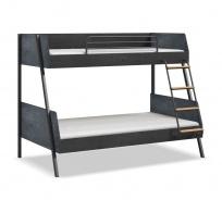 Studentská patrová postel 90x200-120x200 Nebula - černá/šedá