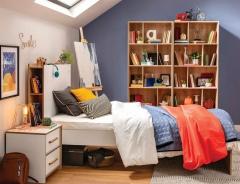 Studentská ložnice Dylan II - bílá/dub světlý