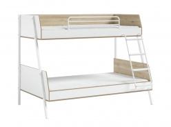 Patrová postel 90x200+120x200cm Dylan - bílá/dub světlý