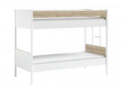 Patrová postel 90x200cm Dylan - bílá/dub světlý