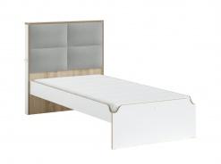 Studentská postel s čalouněným čelem 100x200cm Dylan - bílá/dub světlý