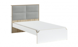 Studentská postel s čalouněným čelem 120x200cm Dylan - bílá/dub světlý