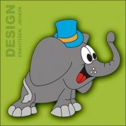 Dekorace na zeď Slon s kloboukem 65x50cm