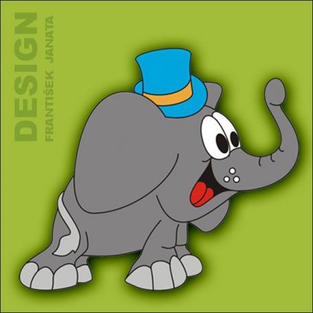 Dekorace na zeď Slon s kloboukem