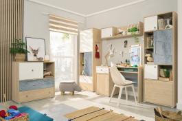 Studentský pokoj I Barney - dub/šedá/bílá