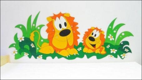 Dekorace na zeď Lvi v trávě