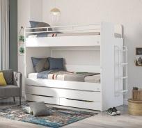 Patrová postel s úložným prostorem a žebříkem Pure - bílá