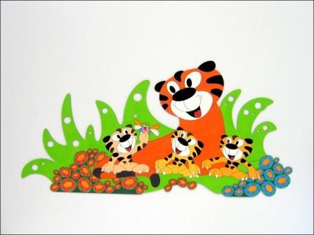 Dekorace na zeď tygr s mláďaty