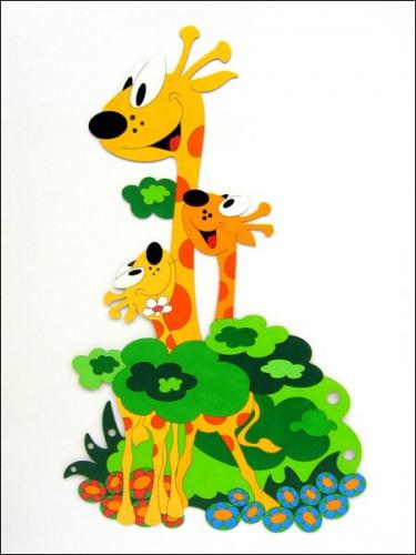 Dekorace na zeď žirafa s mláďaty