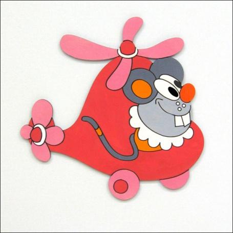 Dekorace na zeď myš ve vrtulníku