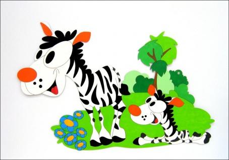 Dekorace na zeď zebra s mládětem