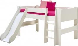 Dětská vyvýšená postel se skluzavkou Dany 90x200 cm - bílá