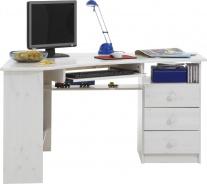 Rohový psací stůl Kent - bílá