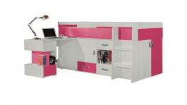 Vyvýšená postel s psacím stolem Adéla - jasan/růžová