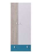 Šatní skříň studentská Saturn - modrá/bílá/dub