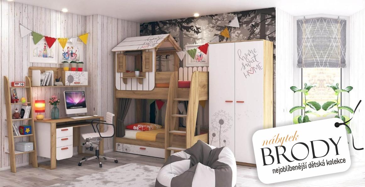 Sladký domove! Zařiďte svým dětem útulný pokoj s nejoblíbenějším nábytkem z kolekce Brody!